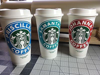 Starbucks Reusable Coffee Cup mug with monogram personalized custom name