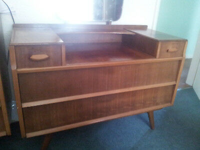 Vintage Retro 60s Avalon Yatton Teak Dressing Table with mirror and four drawers