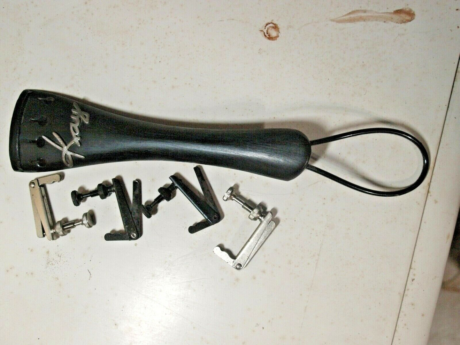 3/4 Vintage Kay Logo Cello Tailpiece With 4 Fine Tuners And Tailgut - $6.00