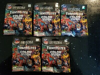 5 FACTORY SEALED PACKS NFL TEENYMATES 2019 COLOR RUSH SERIES 8 NFL LICENSED