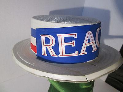 Ronald Reagan Political Campaign HAT Original 1981 Plastic Classic Boater-Style