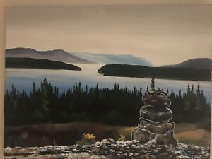 Painting by Tyrone Elliot of the view from North West River