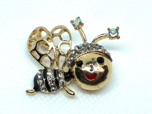 "Bee Brooch pin clear rhinestones gold tone1.5""x1""bumble bee Valentine gift #1"