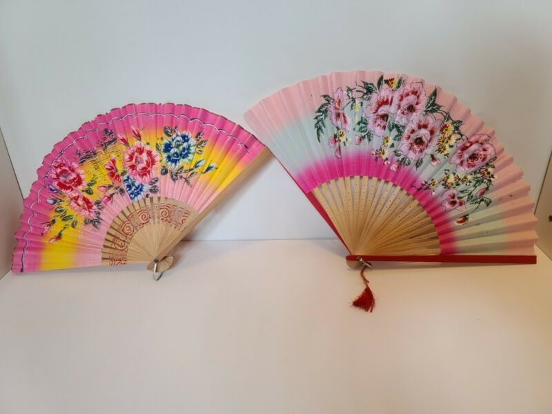 2 Vintage Japanese Paper Fans Lot 3