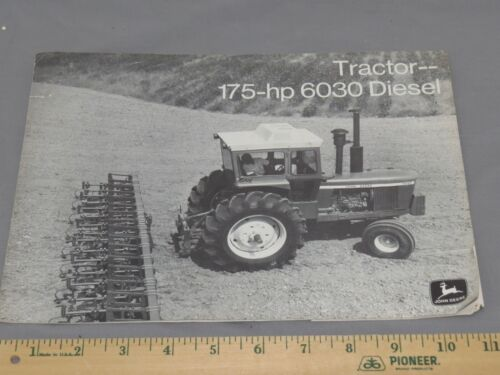Vintage John Deere 6030 Black and White Tractor Brochure ORIGINAL 1973 Turbo