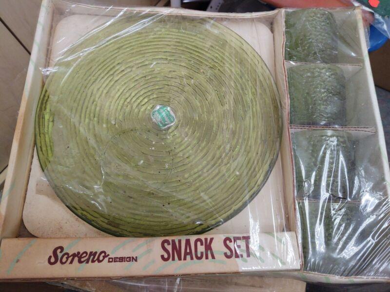 MCM Anchor Hocking Avocado Green Soreno Design 8 Pc Snack Set NIB!