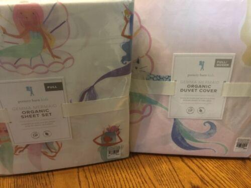 NEW Pottery Barn Kids Gemma Mermaid Full Queen Duvet Cover+Full sheets