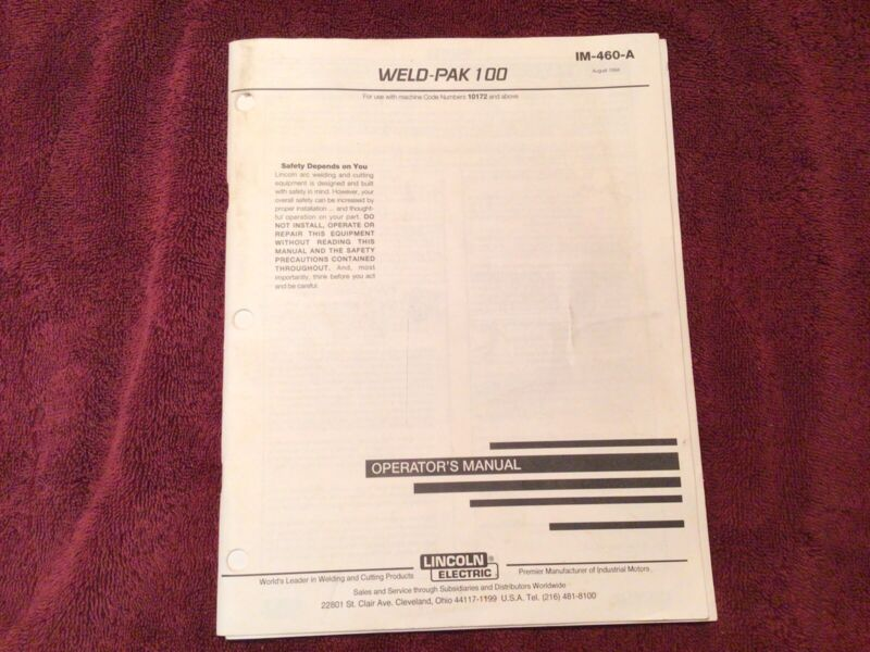 lincoln electric weld-pac 100 operator,s manual IM-460-A