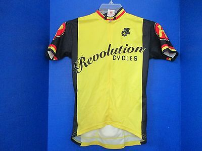 Champ-Sys~Yellow Blk SS CYCLING Revolution JERSEY SHIRT~Back Pocket~Womens  Small 1004e7430
