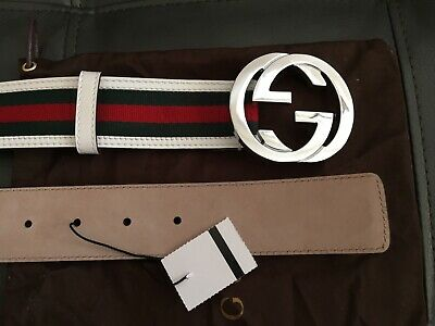Gucci Belt White Green Red 105 CM (36-38)