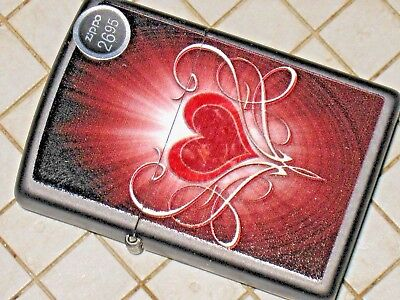 New USA Windproof Zippo Lighter 200437 Shining Heart Love Gift Wife Anniversary