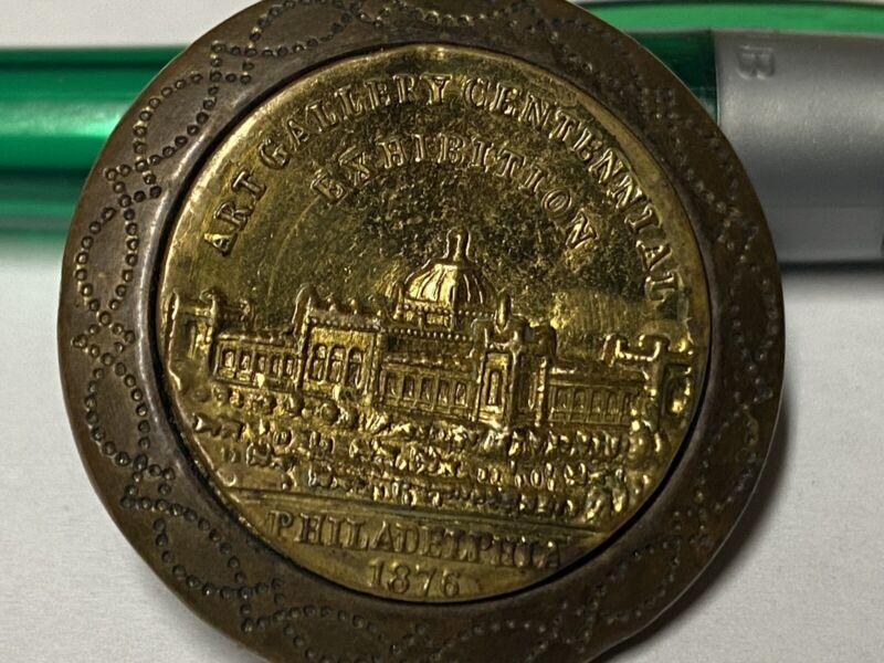 Vf - Original Art Gallery Centennial Exhibition Philadelphia 1876 Button RARE FS