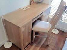 Solid timber light oak study desk and matching chair Brighton Bayside Area Preview