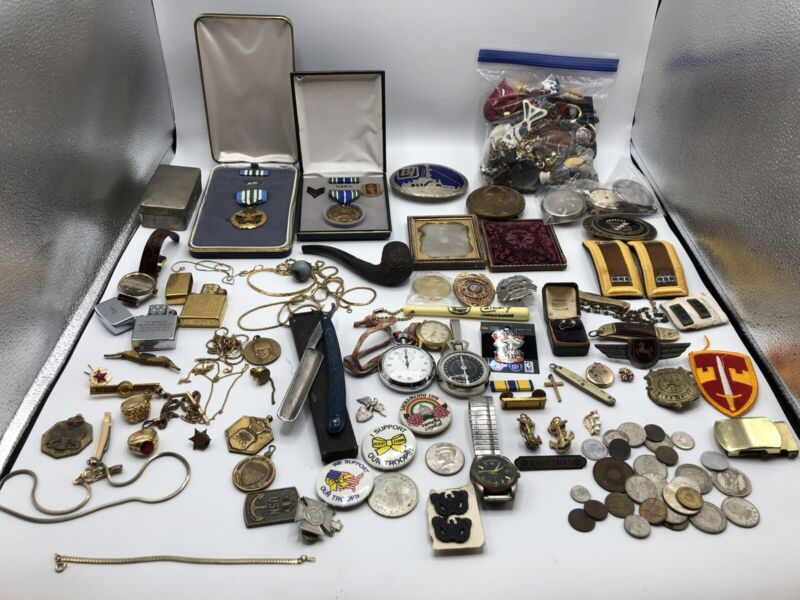 JUNK DRAWER LOT MISC OLD Gold Filled +JEWELRY Lot Medals, Pins, Ect…