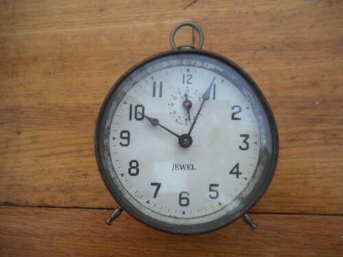 "ANTIQUE 1913 "" Jewel "" ALARM CLOCK DESK PEG LEG RARE!"