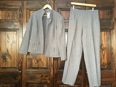 Perceptions Gray Pinstripe Open Front Jacket Pant Suit Size 14 Women's Inseam 29