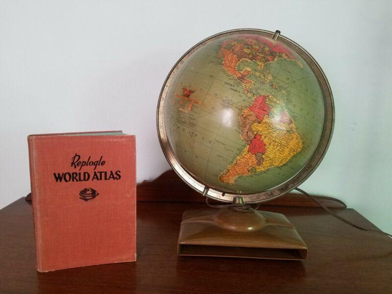 "Vintage REPLOGLE 12"" GLASS Library Globe Light with 1956 Atlas"