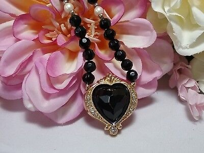 Vintage Gold 1928 Jet Black Rhinestone Heart Beaded Necklace - 1928 Jet