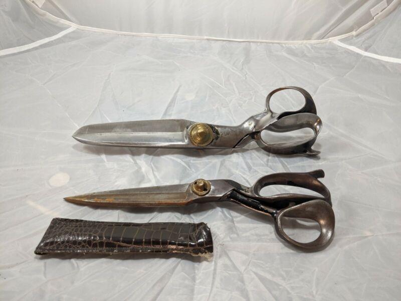 "2 Antique Shears Scissors R. Heinisch Newark NJ Inventor Tailor  14""L + 12"""