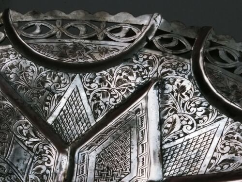 X LARGE ANTIQUE OPEN WORK SILVER NIELLO ARMENIAN VAN FOOTED DISH