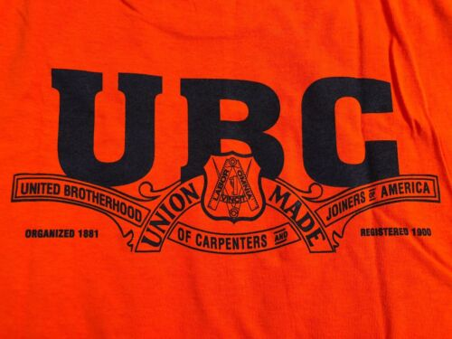 """UNITED BROTHERHOOD of CARPENTERS """"SAFETY ORANGE"""" T-SHIRT """"Union Made in USA"""" 2XL"""
