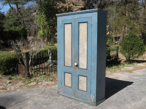 ANTIQUE PRIMITIVE 2 DOOR JELLY CUPBOARD PIE SAFE COUNTRY PANTRY CABINET
