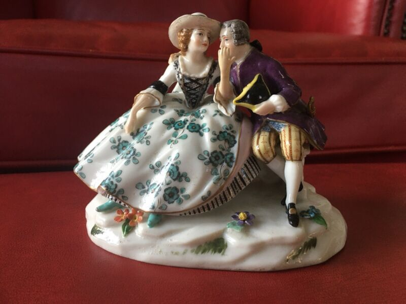 Antique Dressel Kister & Co Passau German Porcelain Lover Couple Figurine Signed