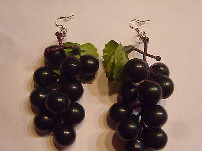 Schwarz Großen Blättern (Ohrring mit schwarzen großen Trauben und Blätter Rotwein aus Kunststoff 497)
