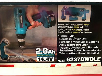 Makita 6237dwdle 38cordless Driver Drill 14.4v With 2 Batteries And Flashlight