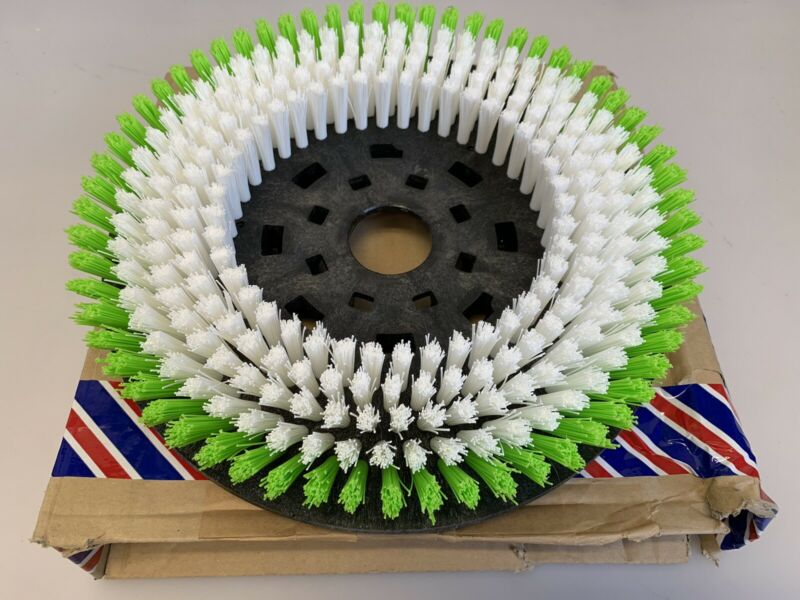"""12"""" Brush Disc 2-1/2"""" Bristle Depth Green/White for Floor Cleaner"""
