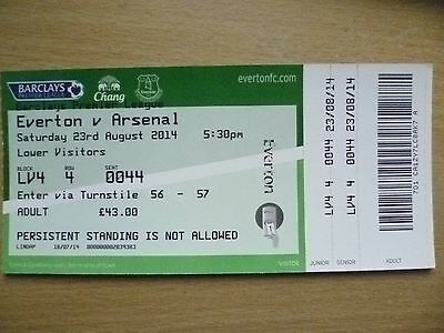 Tickets: 2014 Premier League EVERTON v ARSENAL, 23 August 2014