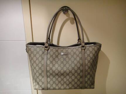 100% Authentic - Gucci GG Joy Canvas Tote with grey leather trim