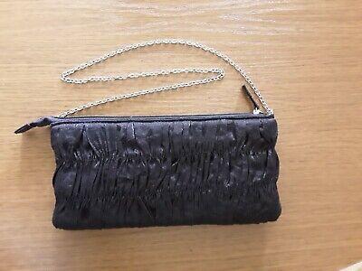 Schwarze Geraffte Tasche (Vintage Retro Handtasche Kettenhenkel Edelstahl, schwarz Polyester gerafft, s.Fo)