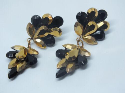 "Stunning Post Pierced Earrings Gold Tone & Black Rhinestones 1 3/4"" WOW"