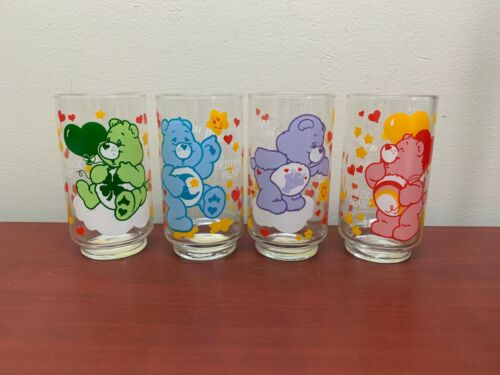 4 Vintage 1985 Care Bears Drinking Glass Tumblers Good Luck Share Bedtime Cheer