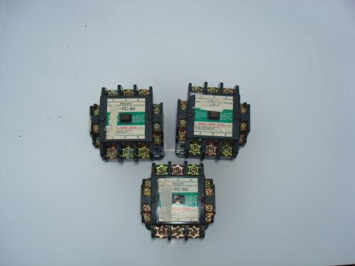 Lot of 3 FC50 Matsushita 3-phase magnetic contactors 210/200-220 VAC