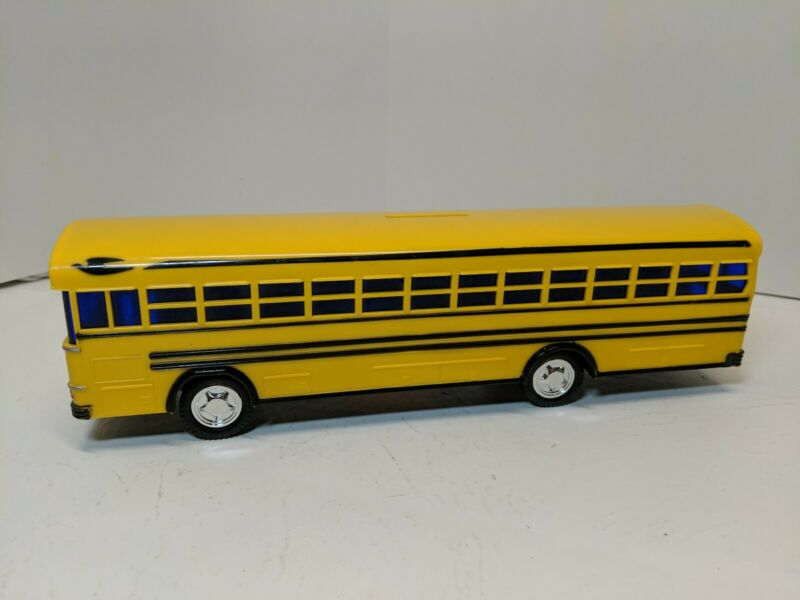 "Yellow School Bus Coin Bank 10"" Blue Bird Flat Front Coach Tint Windows NO PLUG"