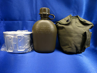 NEW US Military Tactical Survival OD Green 1 QT Water Canteen + Cover + Cup Set