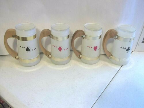 Siesta Ware Card Mug Set of 4 Card Suits White Frosted Wood Handle Poker Cards