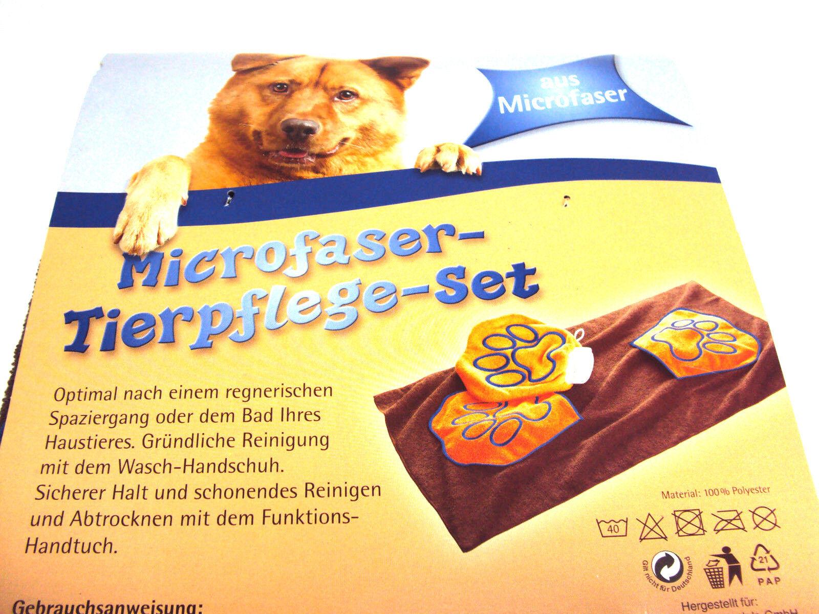 Tierpflege-Set,Hundehandtuch, Mikrofaser, Funktionshandtuch u.Waschhandschuh