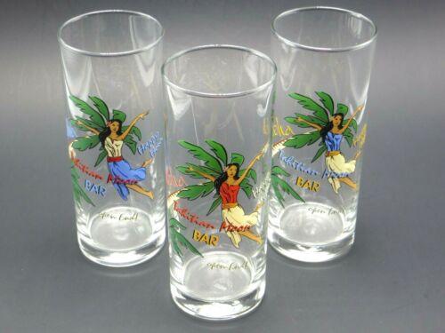 3 Tahitian Moon Bar 16oz Glasses Hula Girl Trees Aloha Tiki Tall Tumbler Collins