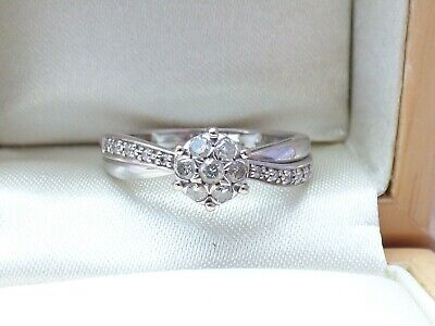 9ct White Gold cluster Diamond Engagement Ring 0.25ct Sz N