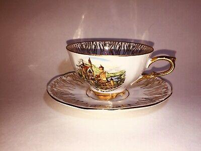 Antique Vintage Limoges France Tea Cup And Saucer White & Gold Design
