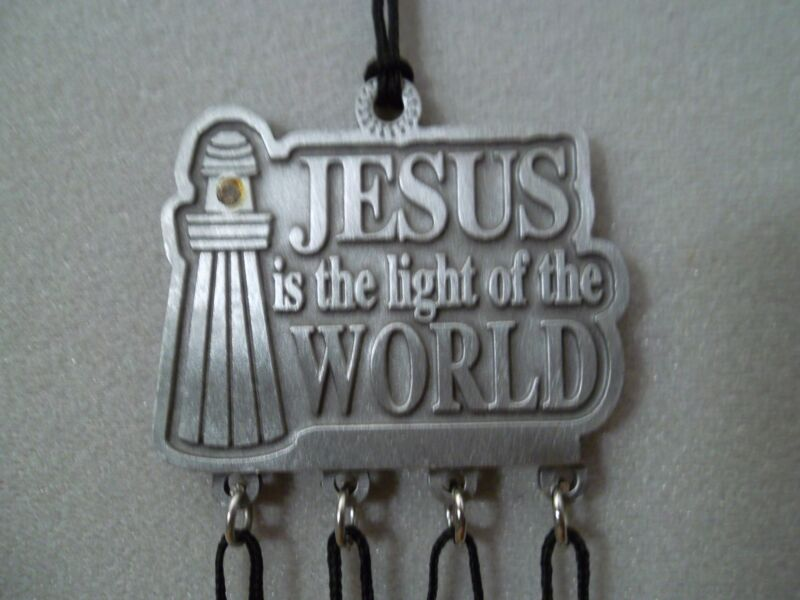 Jesus is the Light of the World WInd chime With Crystal Stone SIGNED Pewter NEW