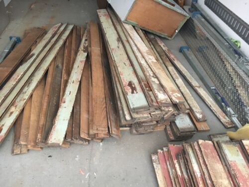 "Antique salvaged chestnut bead board tongue & groove 36 linear feet 65"" tall .75"