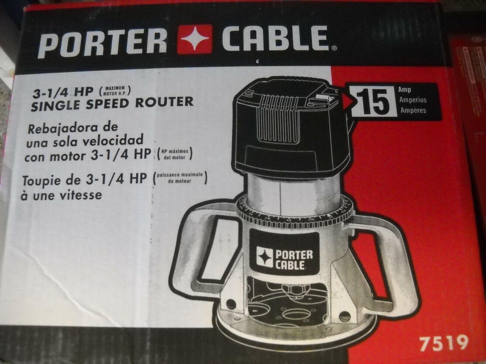 Porter Cable 7519 3-1/4 Peak HP Router 21,000 RPM 15 AMP Spe