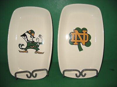PAIR OF NOTRE DAME FIGHTING IRISH CANDY, SERVING, SNACK DISHES MADE  IN  USA