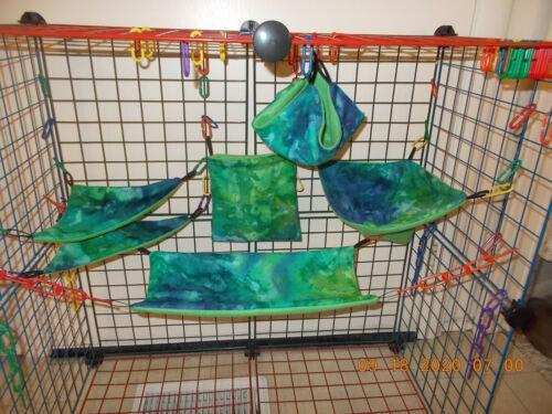 GREEN BLUE TIE DYE   Sugar Glider 6 pc cage set