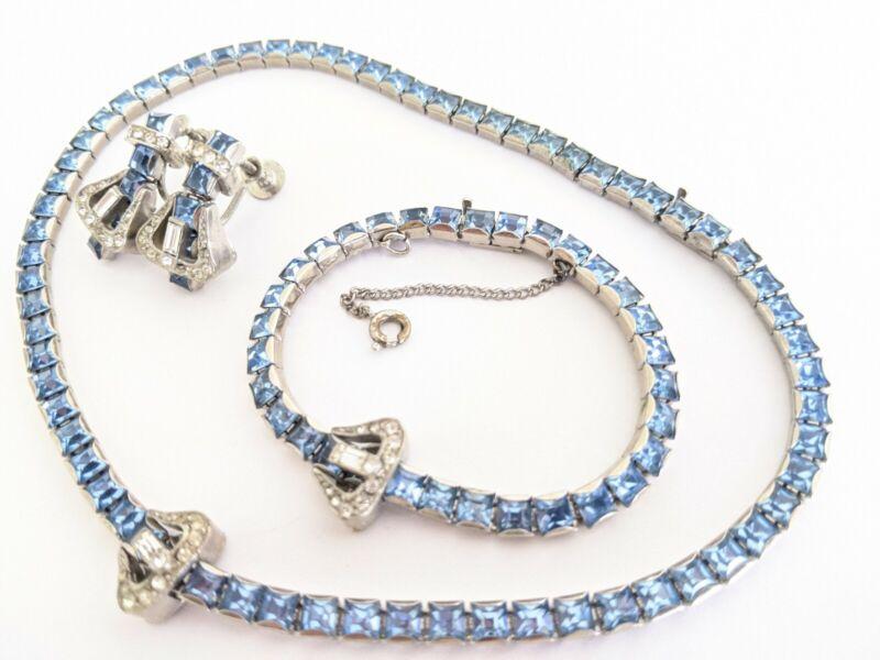Art Deco Baby Blue Rhinestone Young Lady Belt Buckle Necklace Bracelet Earrings