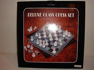 Deluxe Glass Chess Set Board Game Frosted & Clear Glass Boys & Girls Age 6+